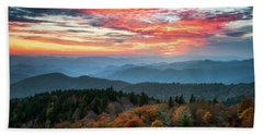 Blue Ridge Parkway Autumn Sunset Scenic Landscape Asheville Nc Hand Towel