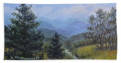 Hand Towel featuring the painting Blue Ridge Stream by Kathleen McDermott