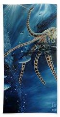 Blue Ring Octopus Bath Towel