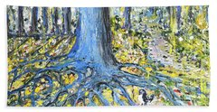 Bath Towel featuring the painting Blue Roots by Evelina Popilian