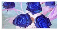 Blue Roses Abstract Bath Towel