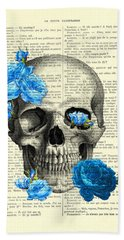 Blue Roses With Skull Art Print Bath Towel