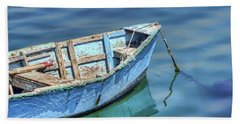 Blue Rowboat At Port San Luis 2 Hand Towel