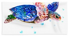 Blue Sea Turtle Hand Towel