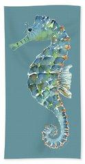Blue Seahorse Hand Towel by Amy Kirkpatrick