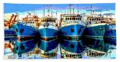 Blue Shrimp Boats Hand Towel
