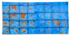 Blue Shutter And Rust Bath Towel by Ari Salmela