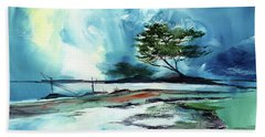 Hand Towel featuring the painting Blue Sky by Anil Nene