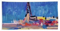 Bath Towel featuring the painting Blue Sky Blackpool by Nop Briex