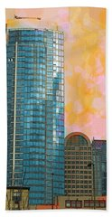 Hand Towel featuring the photograph Blue Skyscraper Seattle by Yulia Kazansky
