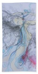 Hand Towel featuring the drawing Blue Smoke And Mirrors by Marat Essex