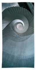 Bath Towel featuring the photograph Blue Spiral Stairs by Jaroslaw Blaminsky