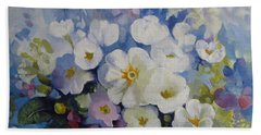 Hand Towel featuring the painting Blue Spring by Elena Oleniuc