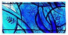 Blue Stained Glass Detail 1  Hand Towel