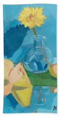 Blue Still Life Apple Flower Bath Towel by Patricia Cleasby