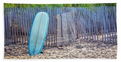 Bath Towel featuring the photograph Blue Surfboard At Montauk by Art Block Collections