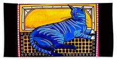 Blue Tabby - Cat Art By Dora Hathazi Mendes Hand Towel
