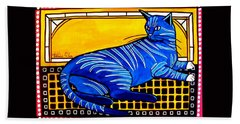 Bath Towel featuring the painting Blue Tabby - Cat Art By Dora Hathazi Mendes by Dora Hathazi Mendes