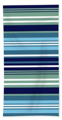 Blue Teal And White Summer Stripes Pattern Hand Towel