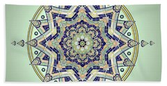 Hand Towel featuring the drawing Blue Tile Star Mandala by Deborah Smith