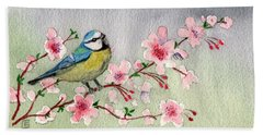 Blue Tit Bird On Cherry Blossom Tree Hand Towel