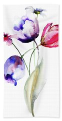 Blue Tulips Flowers With Wild Flowers Hand Towel
