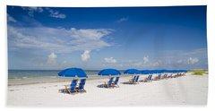 Blue Umbrellas Bath Towel