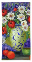 Blue Vase Flowers Bath Towel