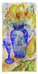 Hand Towel featuring the painting Blue Vase by Jasna Dragun