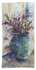 Blue Vase Of Lavender And Wildflowers Aka Vase Bleu Lavande Et Wildflowers  Bath Towel