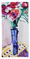 Blue Vase With Red Wild Flowers Bath Towel by Amara Dacer