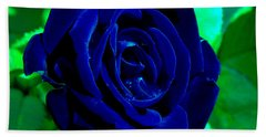 Blue Velvet Rose Hand Towel