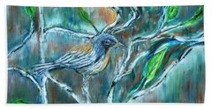 Blue Warbler In Birch Hand Towel