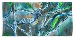 Blue Warbler In Birch Bath Towel