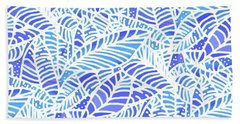 Blue Water Leaves Hand Towel