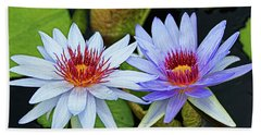 Bath Towel featuring the photograph Blue Water Lilies by Judy Vincent
