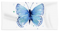 Blue Watercolor Butterfly Bath Towel