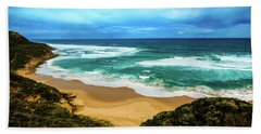 Bath Towel featuring the photograph Blue Wave Beach by Perry Webster