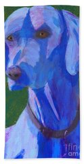Bath Towel featuring the painting Blue Weimaraner by Donald J Ryker III