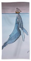 Blue Whale Hand Towel by Edwin Alverio