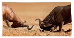 Blue Wildebeest Sparring With Red Hartebeest Hand Towel