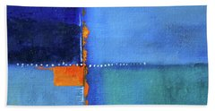 Bath Towel featuring the painting Blue Window Abstract by Nancy Merkle