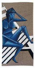 Blue Woman Bath Towel by Tamara Savchenko