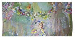 Bluebell Fairies Bath Towel by Judith Desrosiers