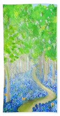 Bluebell Wood With Butterflies Bath Towel