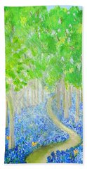 Bluebell Wood With Butterflies Hand Towel