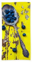Blueberries In Silver Spoon Hand Towel by Garry Gay