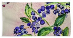 Bath Towel featuring the painting Blueberries by Kim Nelson