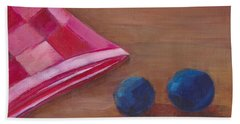 Hand Towel featuring the painting Blueberries With Red Napkin by Patricia Cleasby