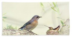 Bluebird And Baby Hummer Bath Towel
